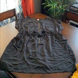 Dress, zippered front, sleeveless, black
